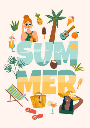 Vector illustration with women in swimsuit on tropical beach. Summer holliday, vacation, travel.