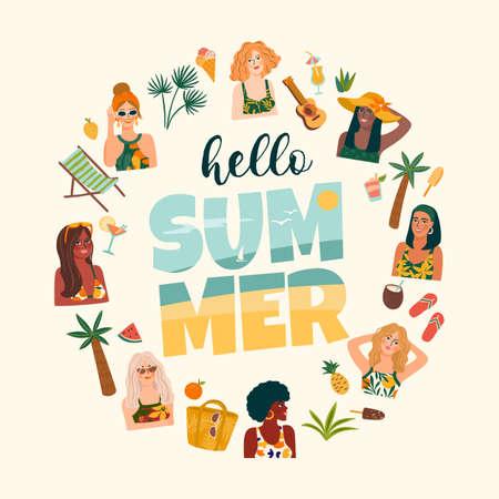 Summer illustration with cute women. Summer holliday, vacation, travel. Vector templat