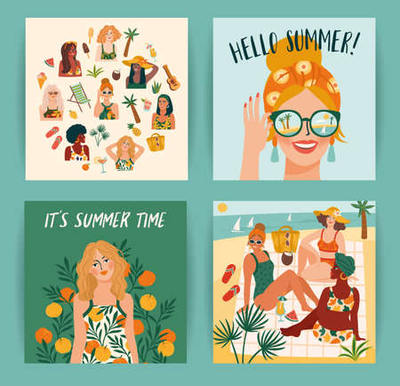 Set of bright summer illustrations with cute women. Summer holliday, vacation, travel. Vector templates  イラスト・ベクター素材