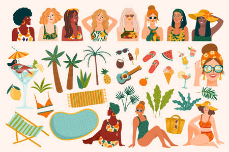 Vector set of summer illustrations. Cute women, tropical beach, holliday, vacation, travel. Design elements  イラスト・ベクター素材