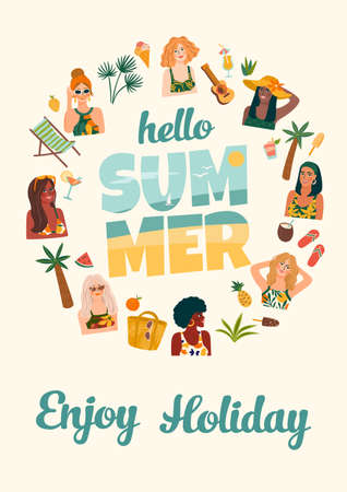 Summer illustration with cute women. Summer holliday, vacation, travel. Vector template