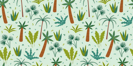 Seamless pattern with abstract tropical plants. Vector design  イラスト・ベクター素材