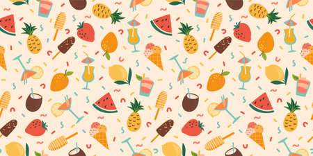 Vector seamless pattern with summer cocktails, ice cream and fruits. Summer holliday, vacation, travel.