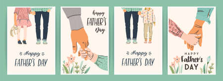 Happy Fathers Day. Set of vector illustrations. Man holds the hand of children.