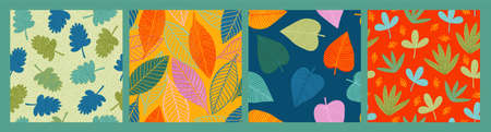 Set of bright funny seamless patterns with abstract leaves. Vector design  イラスト・ベクター素材