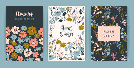 Set of vector floral design. Template for card, poster, flyer, home decor and other