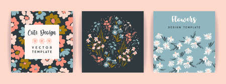 Set of vector floral design. Template for card, poster, flyer, home decor and other  イラスト・ベクター素材