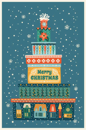 Christmas and Happy New Year illustration with gift boxes. Vector design template.