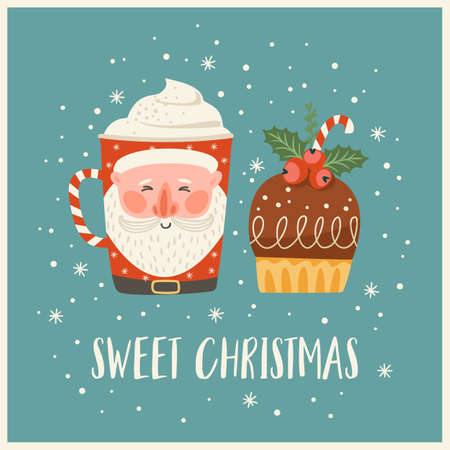 Christmas and Happy New Year illustration with christmas sweet and drink. Vector design template.