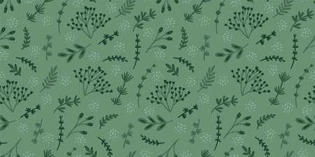 Green floral seamless pattern. Modern abstract design