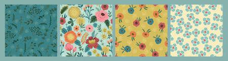 Set of Folk floral seamless patterns. Modern abstract design  イラスト・ベクター素材