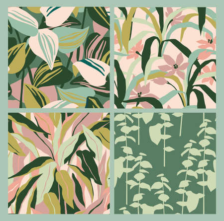 Artistic seamless pattern with abstract leaves. Modern design for paper, cover, fabric, interior decor and other  イラスト・ベクター素材