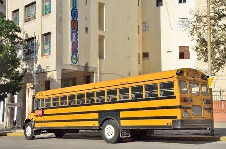 Yellow school bus in Havana. photo