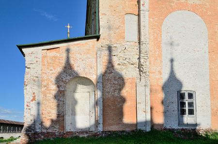 european rowan: A shadow of domes on a wall of church