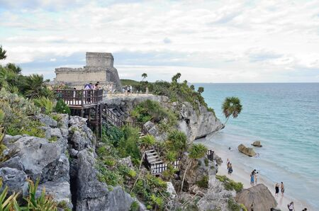 mexican background: Beach in Tulum, Mexico. Stock Photo