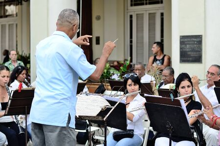brass: The conductor with brass band in Havana Editorial