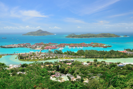 Areal view to the Eden Island, Seychelles Stock Photo