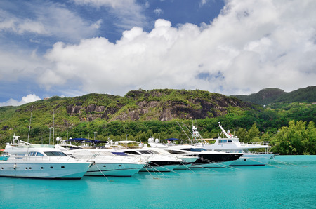 eden: Luxury yachts in marina of Eden Island, Seychelles.