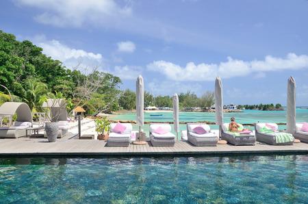 la digue: La Digue, Seychelles - September 1, 2013.Hotel Le Domaine de L`Orangeraie.
