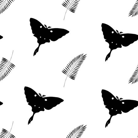 tropic repeat texture with butterflies and plant