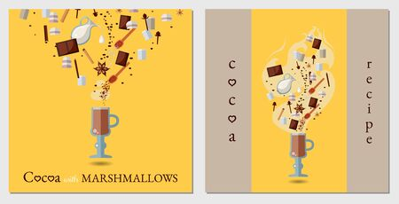 flat cocoa cook postcards with ingredients