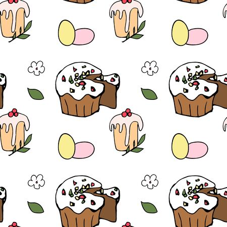 Easter seamless background with eggs and cakes Vettoriali