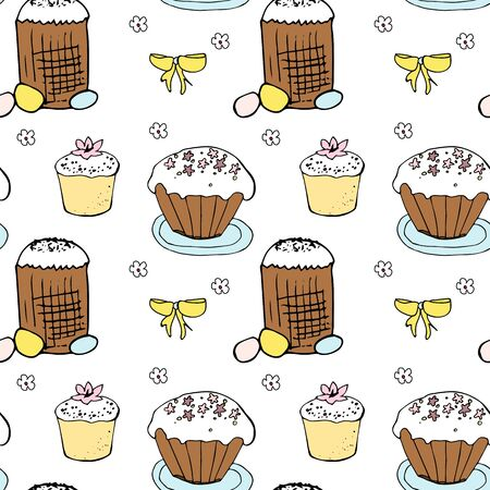 Easter repeat pattern with eggs and cakes