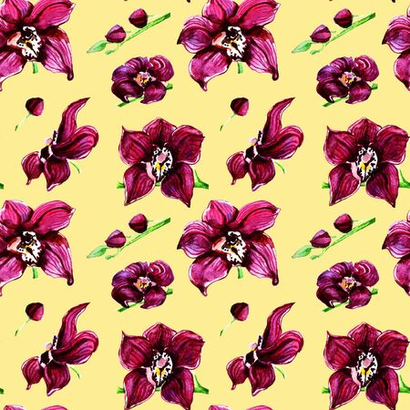 watercolor illustration pattern with pink orchids on a yellow background Archivio Fotografico