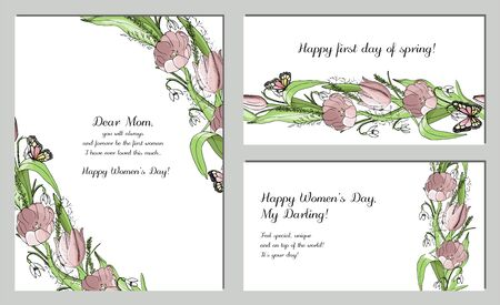 spring cards with a patterned brush of tulips and snowdrops Vettoriali