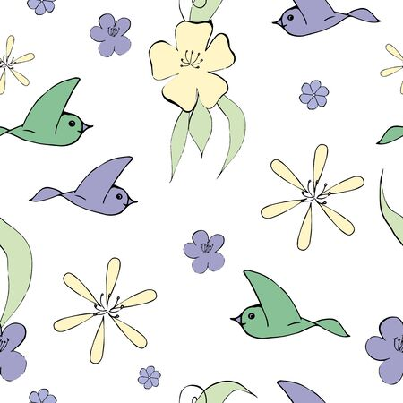 seamless pattern with cream flowers and birds flying
