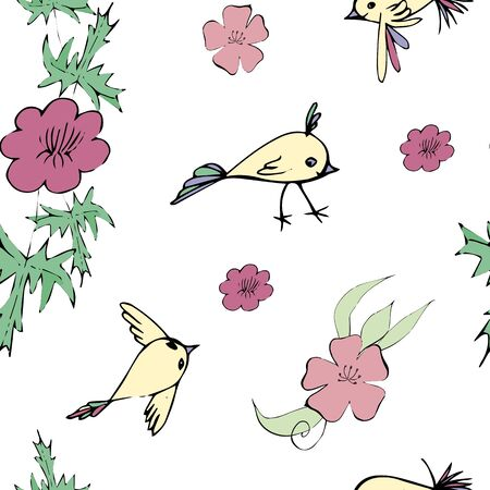 seamless pattern with tender flowers and birds flying Vettoriali