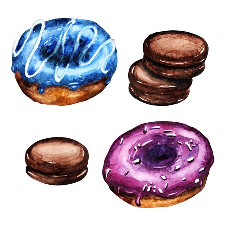 watercolor illustration isolated objects doughnuts and cookies
