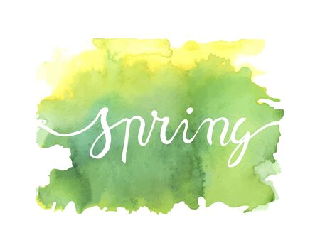 lettering spring on a watercolor yellow and green background