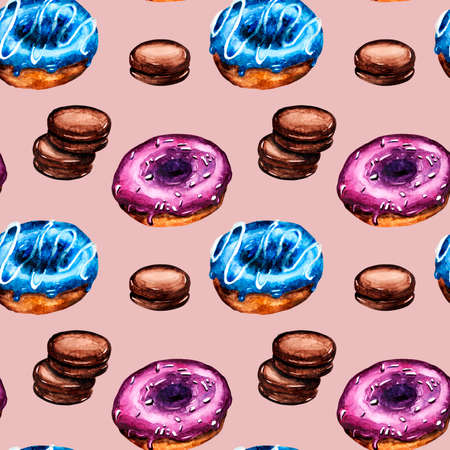 watercolor illustration pattern with doughnuts and cookies in chocolate glaze Archivio Fotografico