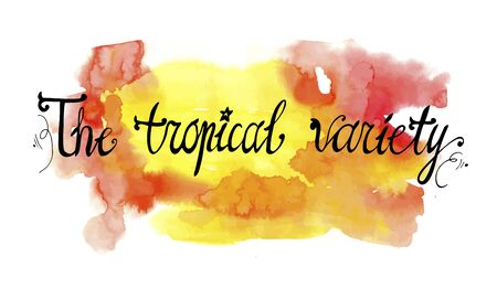 lettering tropical variety on a watercolor background