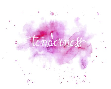 lettering tenderness on a delicate watercolor spot Vector Illustratie