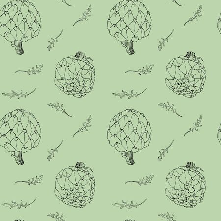seamless background with artichoke and rucola contours Ilustrace