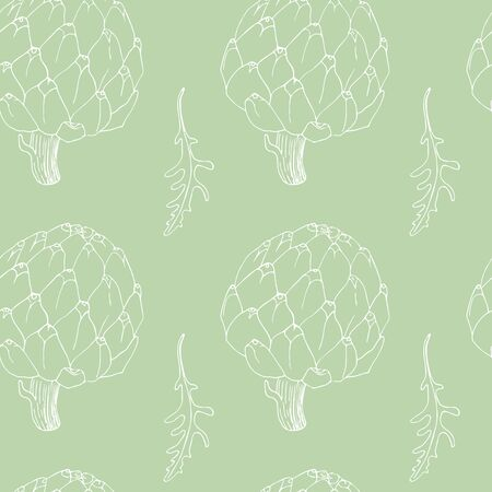 green seamless pattern with artichoke and rucola Vettoriali