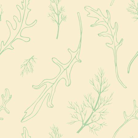 seamless background rukola and dill contour