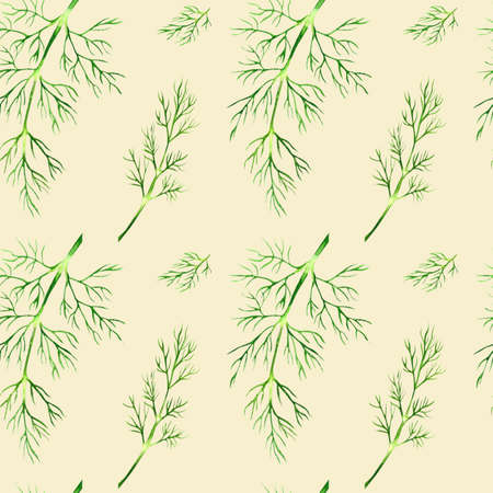 seamless beige watercolor background made of fennel sprigs