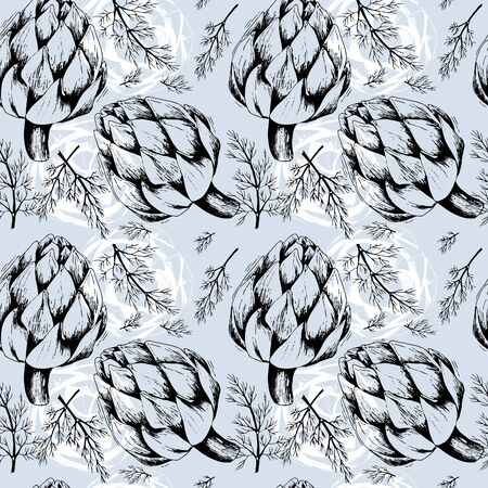 seamless background with contour artichoke and dill