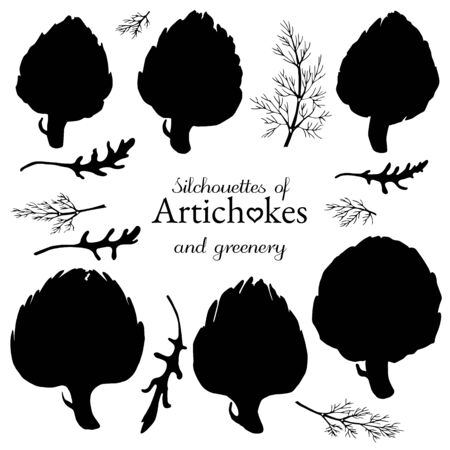 Set of silhouettes artichoke and greens: arugula and dill Ilustração
