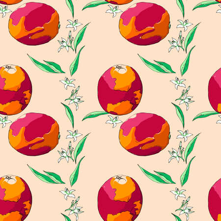 Seamless pattern sicilian orange, leaves and flowers