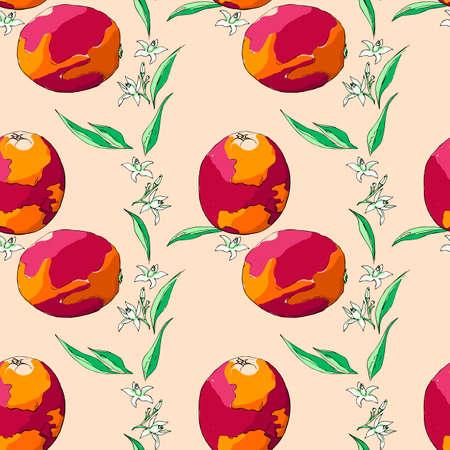 Seamless pattern sicilian orange, leaves and flowers