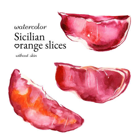 Maroon juicy slices of Sicilian orange without skin