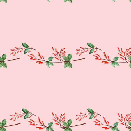 Pink seamless pattern of barberry twigs stripes