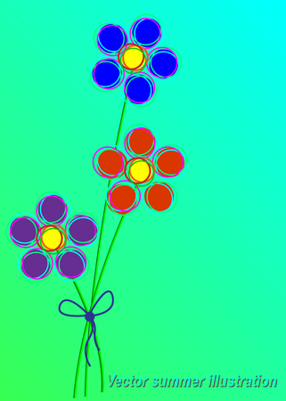Vector summer illustration. Bouquet of three flowers, stylized for childrens drawing.