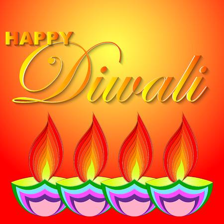 Happy Diwali vector kunst illustratie. Ontwerp van wenskaart, banner, flyer, cadeaubon, uitnodiging, achtergrond voor Divali, festival van lichten.