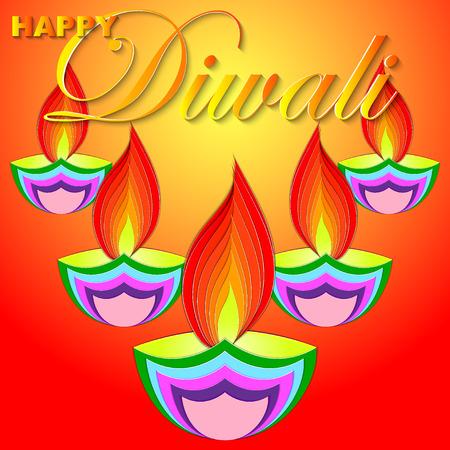 Happy Diwali vector kunst illustratie. Ontwerp van wenskaart, banner, flyer, cadeaubon, uitnodiging, achtergrond voor Divali, festival van lichten. Stockfoto - 85639696