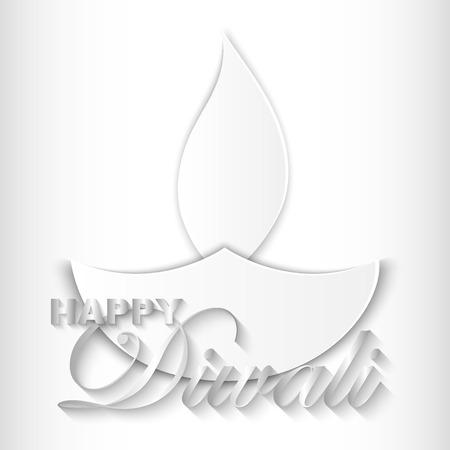 Happy Diwali vector kunst illustratie. Ontwerp van wenskaart, banner, flyer, cadeaubon, uitnodiging, achtergrond voor Divali, festival van lichten. Papier gesneden stijl. Stock Illustratie